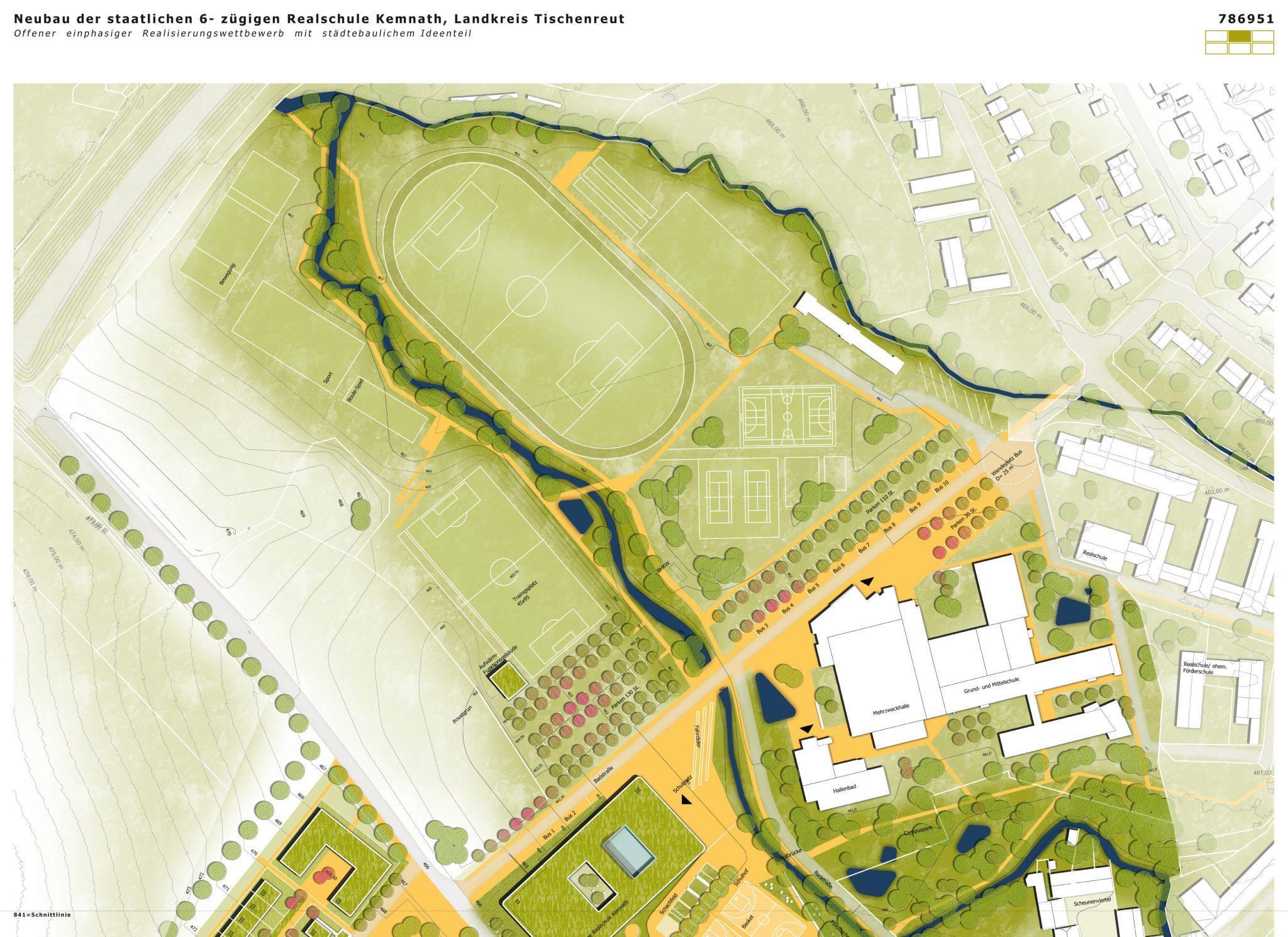 Wettbewerb Realschule Kemnath Lageplan mit Sportplatz