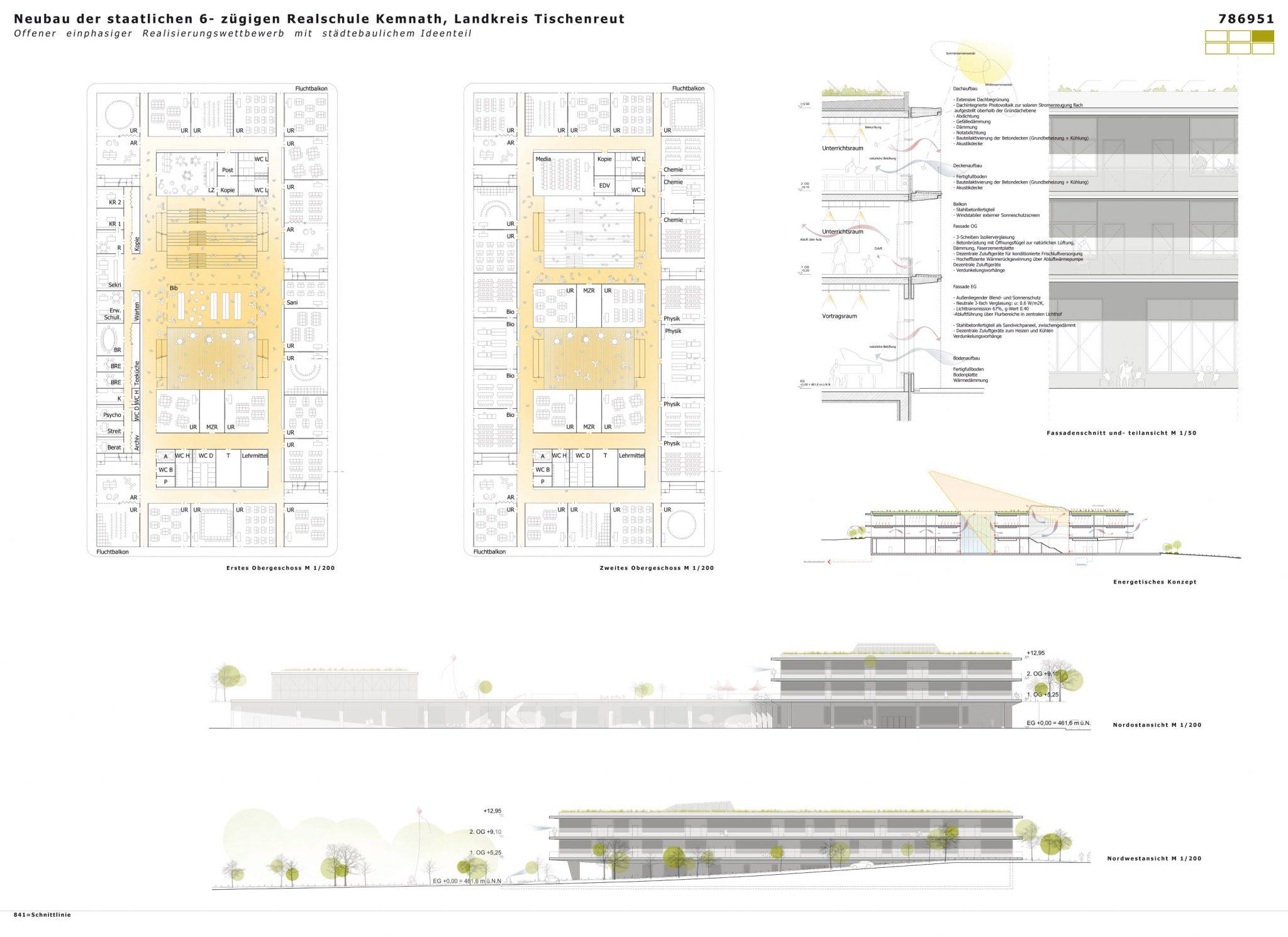 Wettbewerb Realschule Kemnath Layout Grundriss und Fassadenschnitt