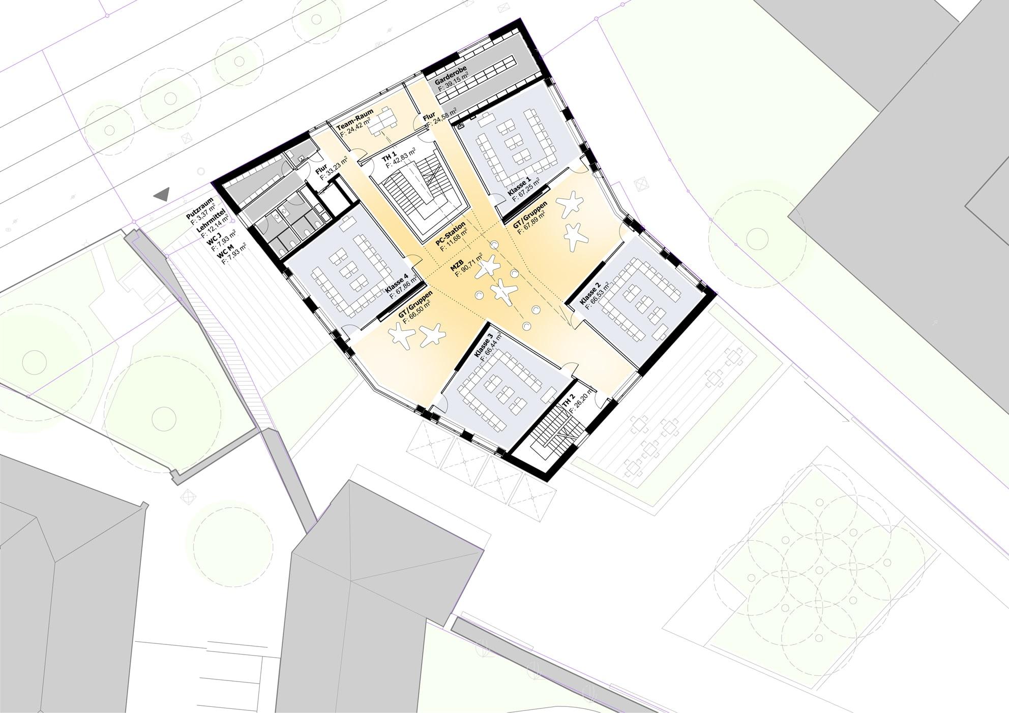 Ursulinen Grundschule: Plan der Lerncluster