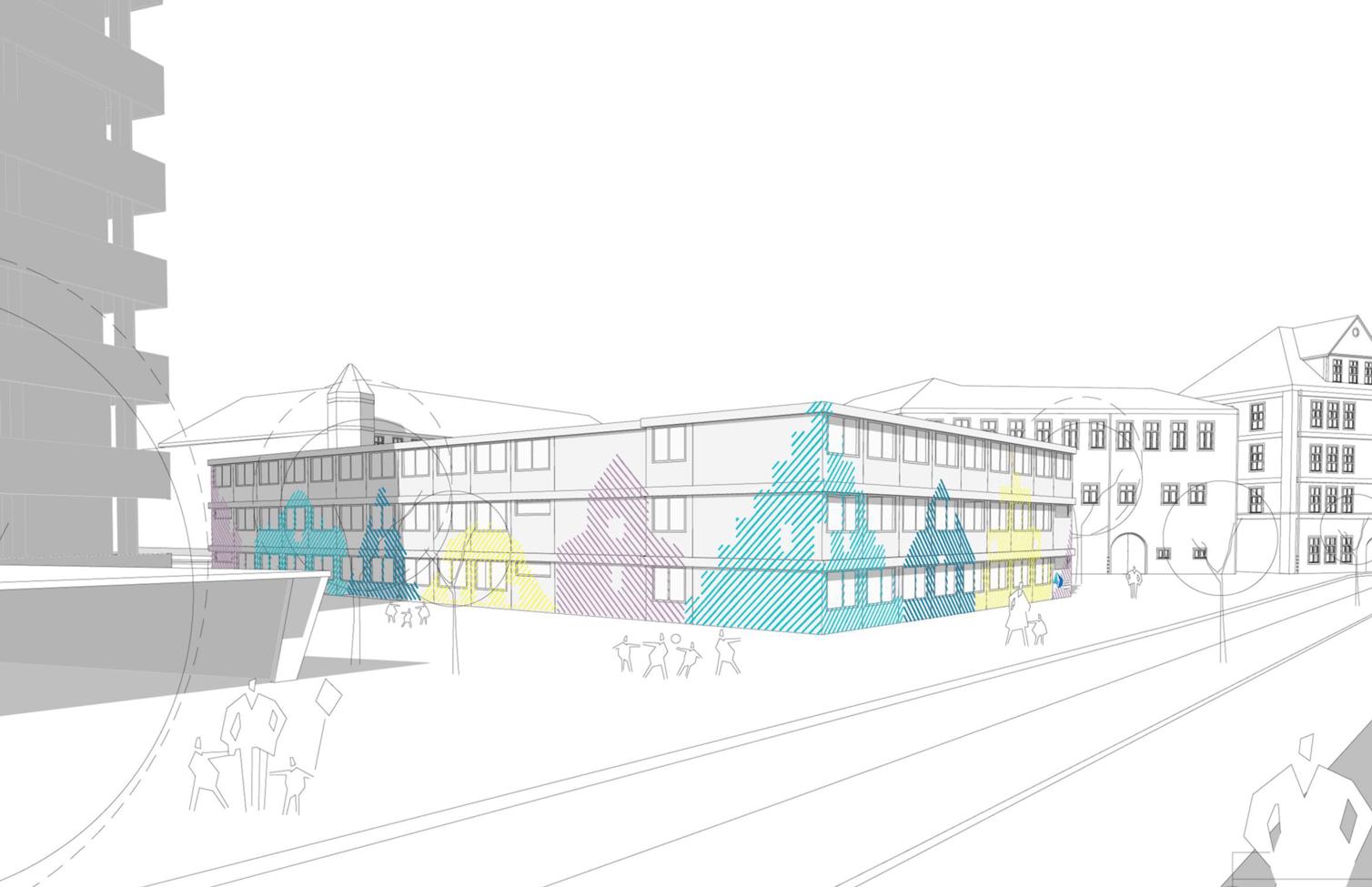 Vorkonzept für die Fassadengestaltung der Grundschule Ursulinen