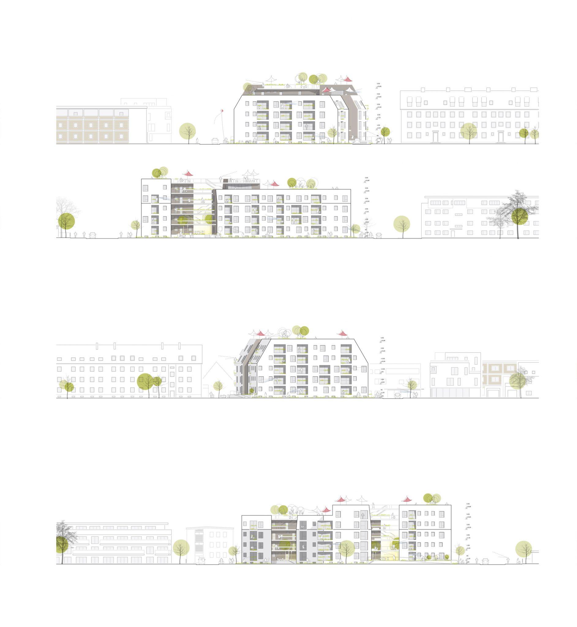 Fassadenansichten für ALN-Beitrag beim Landshut Wettbewerb Bürgerblock
