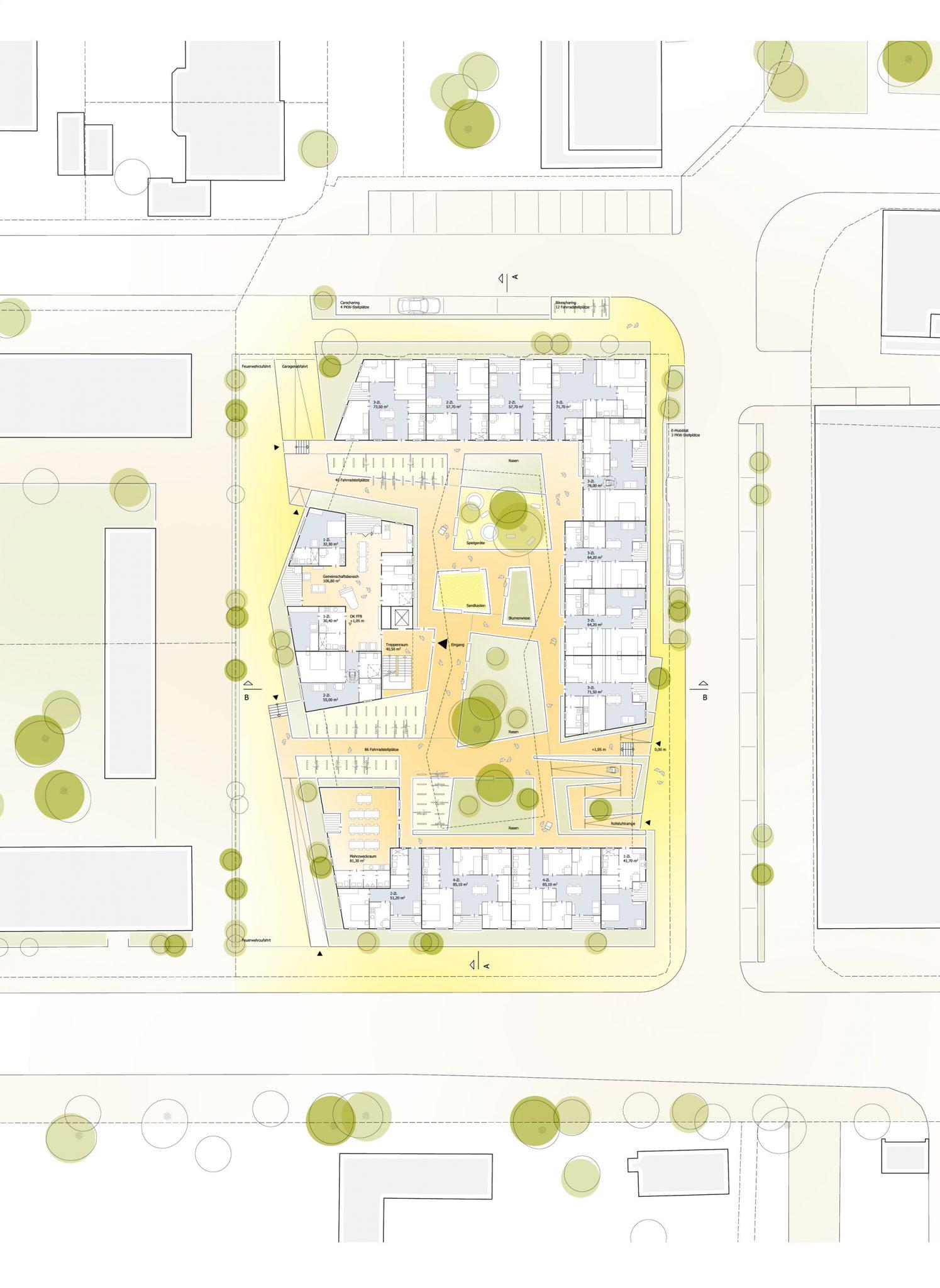 Erdgeschoss Grundriss für ALN-Beitrag beim Landshut Wettbewerb Bürgerblock