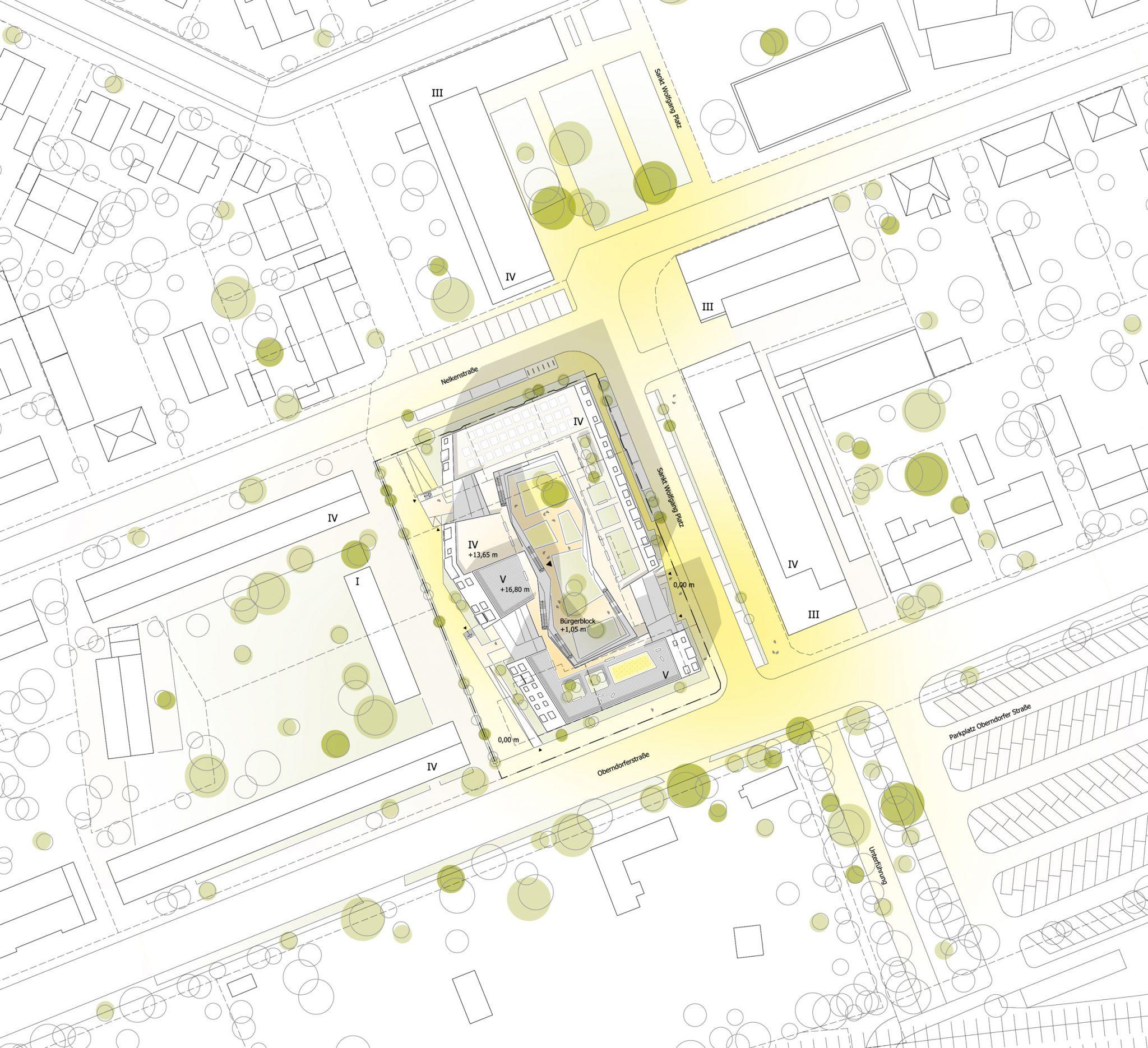Lageplanzeichnung für ALN-Beitrag beim Landshut Wettbewerb Bürgerblock