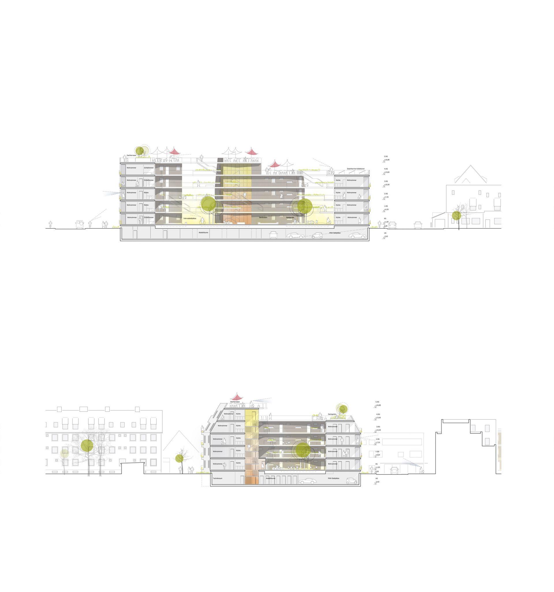 Gebäudeschnitte für ALN-Beitrag beim Landshut Wettbewerb Bürgerblock