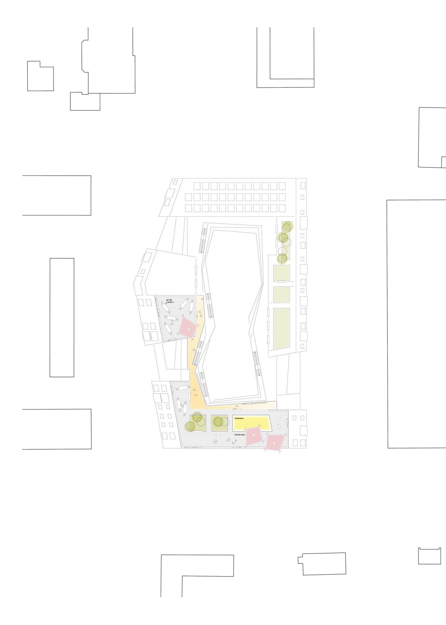 Grundriss 5. OG für ALN-Beitrag beim Landshut Wettbewerb Bürgerblock