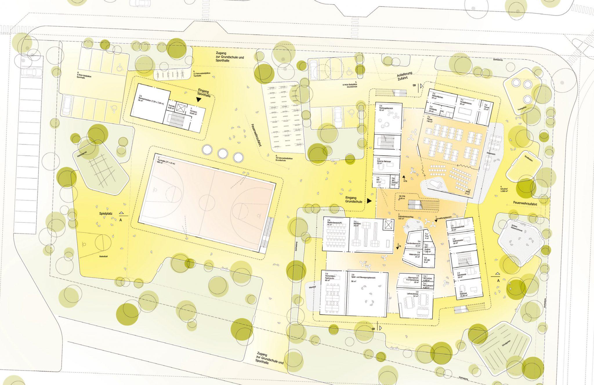 Lageplan zum Architektenwettbewerb Neubau einer zweizügigen Grundschule auf Spinelli in Mannheim